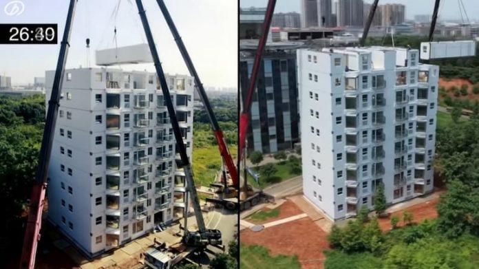 Így építettek fel a kínaiak egy 10 emeletes házat alig 29 óra alatt